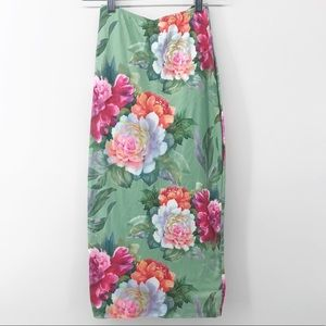 Joe & Elle High Waist Floral Stretch Pencil Skirt